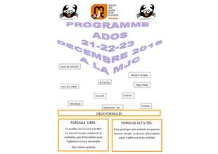 21 au 23 décembre : programme ado