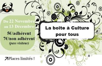 22 novembre au 13 décembre 2016 : la boite à culture pour tous