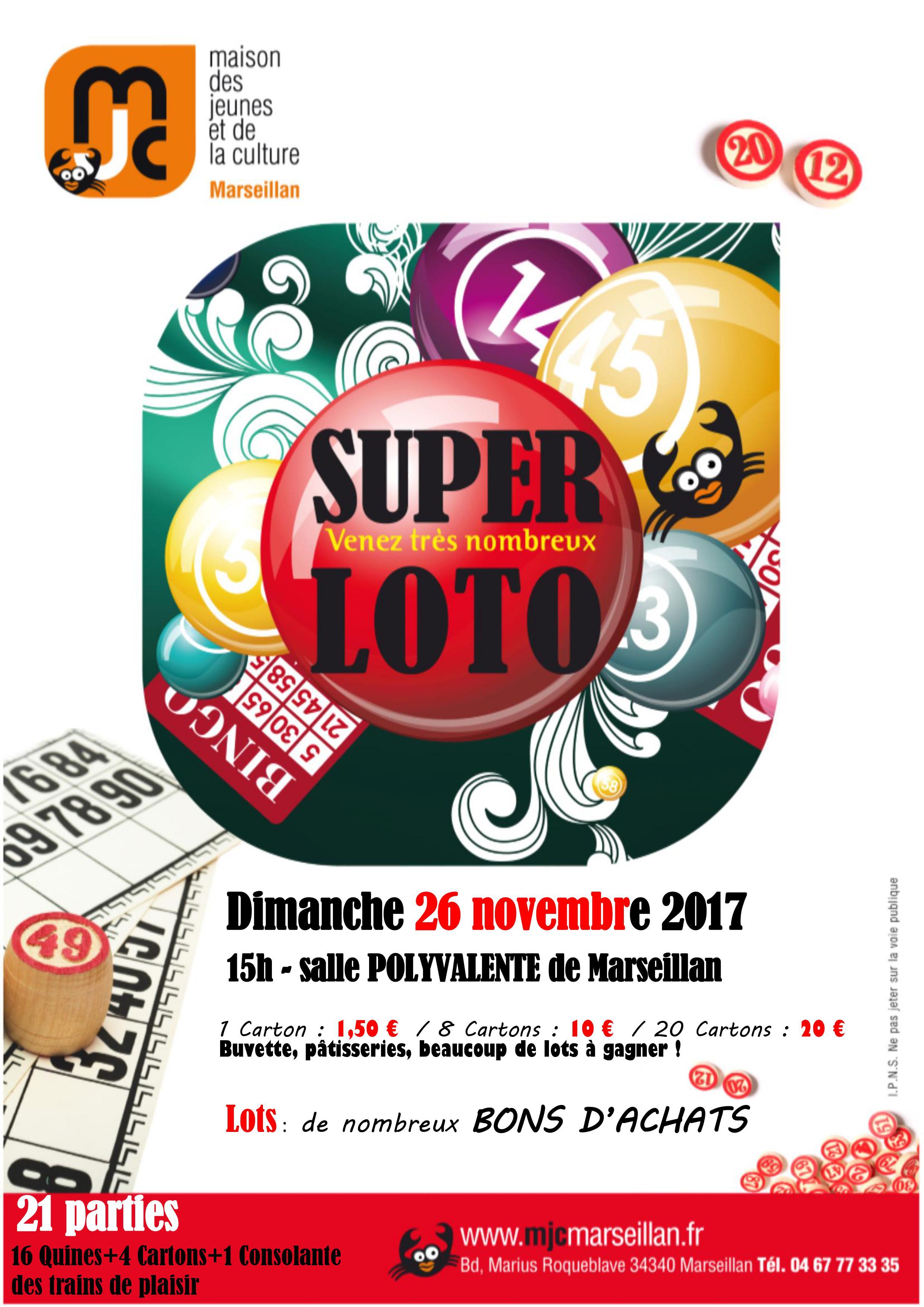 Dimanche 26 novembre 2017 : loto de la MJC