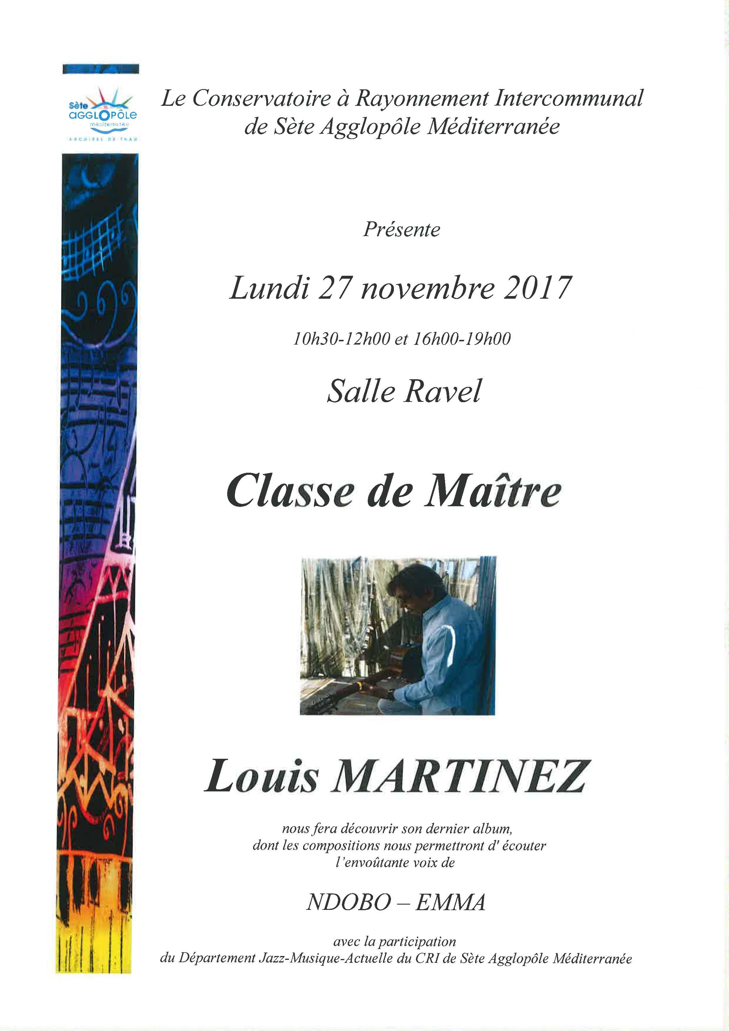 Lundi 27 novembre 2017 : classe de maître