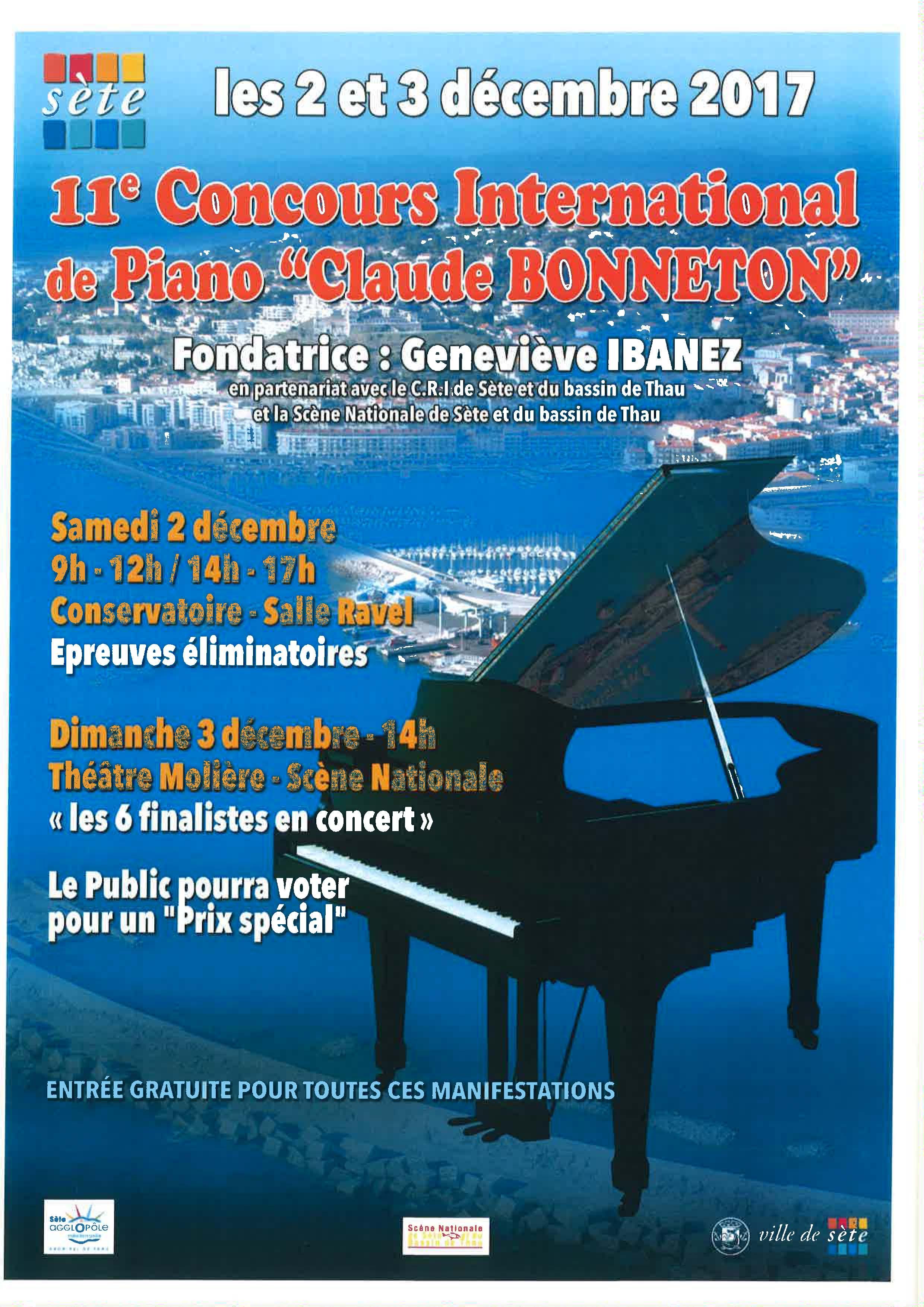Samedi 2 et dimanche 3 décembre 2017 : concours international de piano