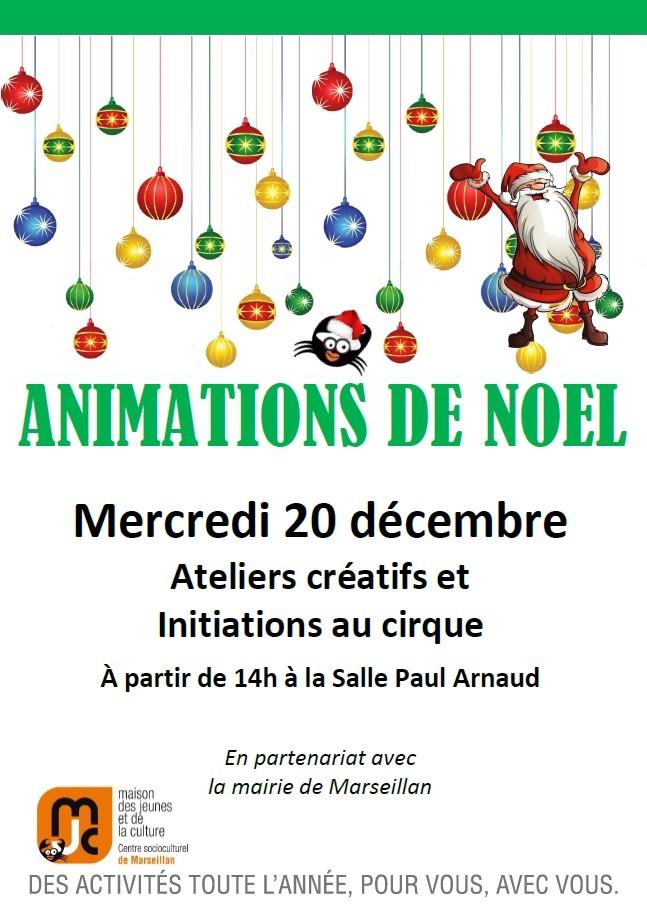 Mercredi 20 décembre : animations de Noël