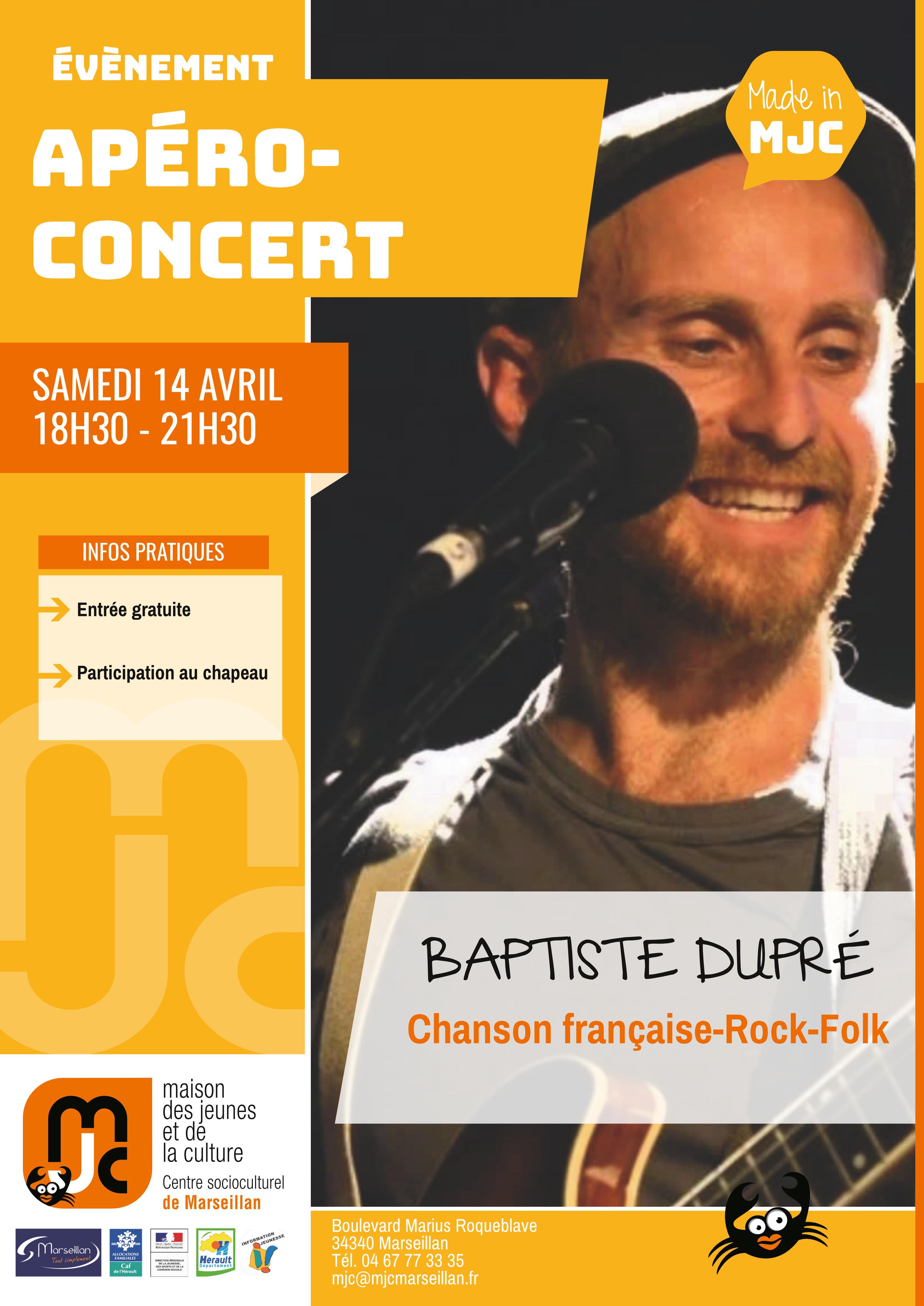 Samedi 14 avril 2018 : Apéro-concert : Baptiste Dupré