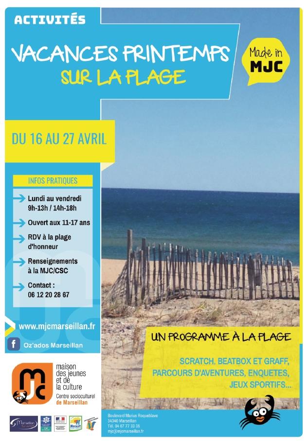 Du  16 au 27 avril 2018 : Vacances printemps sur la plage