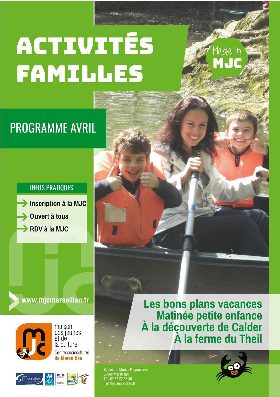 Avril 2018 : programme des activités familles