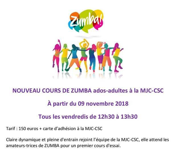 A partir du vendredi 9 novembre 2018 : nouveau cours de Zumba