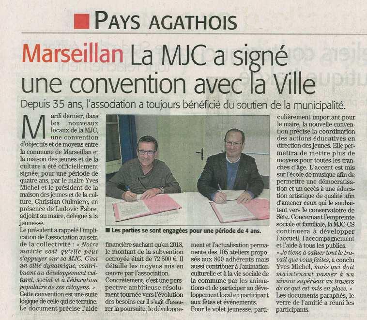 La MJC a signé une convention avec la ville