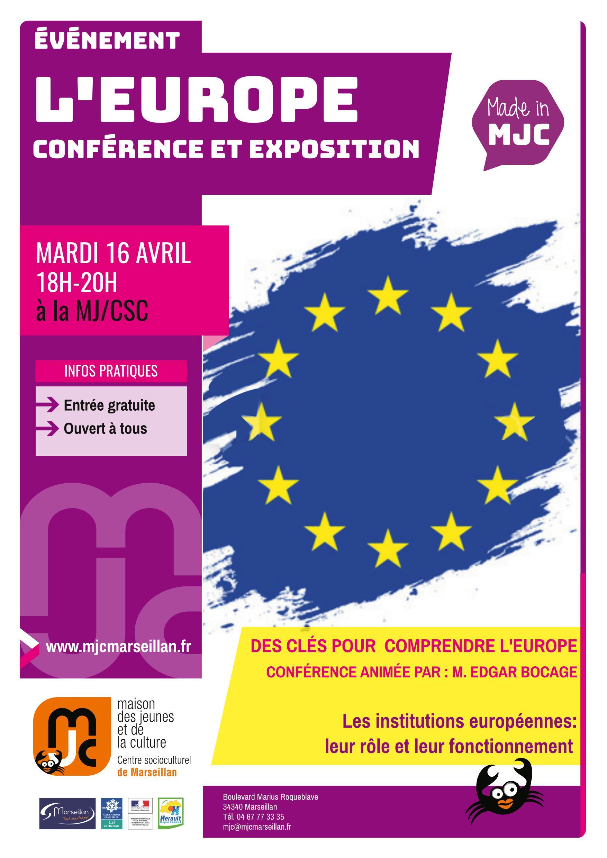 Mardi 16 avril 2019 : l'Europe : conférence et exposition