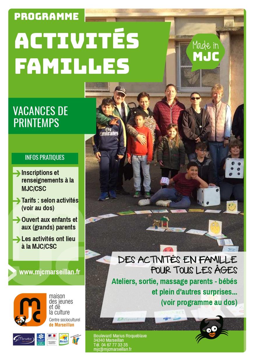 Du 23 au 30 avril 2019 : activités familles