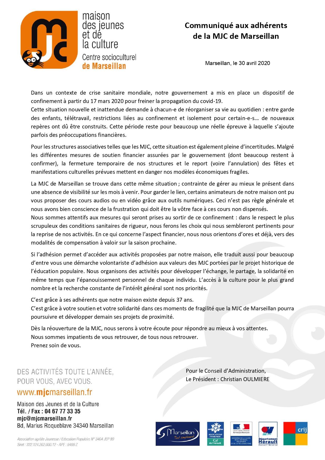 Communiqué aux adhérents de la MJC de Marseillan